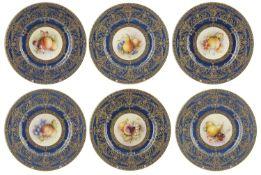 A set of six Royal Worcester porcelain plates, circa 1917