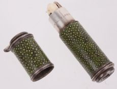 A rare silver mounted shagreen spy-glass necessaire or etui by Thomas Ribright, mid 18th century