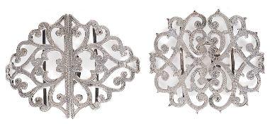 Two Edwardian silver nurses' buckles, hallmarked Birmingham 1910