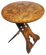 An Arts and Crafts folding pyrography side table, early 20th century