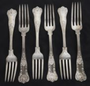 A set of six American silver table forks, hallmarked Birmingham 1904