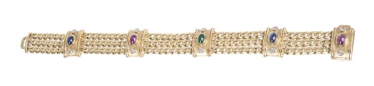 An attractive Continental diamond and cabochon gem bracelet