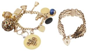A 9ct gold curb link charm bracelet