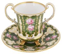 A Royal Crown Derby green ground two handled cup and matched stand, circa 1899