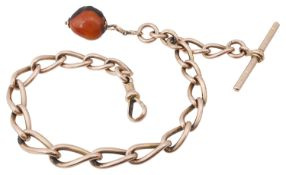 A 9ct rose gold graduated open curb link watch Albert chain