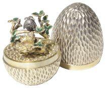 """Stuart Leslie Devlin silver-gilt """"Bird feeding her chicks Surprise Egg"""", hallmarked London 1976"""