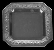 An Art Deco Lalique Paquerettes pattern frosted and clear glass square dish, 1930s
