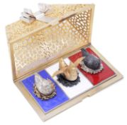 "Stuart Leslie Devlin """"Three French Hens"""" Twelve Days of Christmas Surprise parcel-gilt silver box"