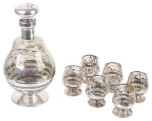 A Bohemian silvered glass decanter with six matching glasses, mid 20th century