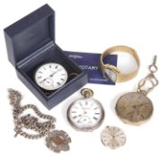 Selection of watches, silver pocket watch,gold plated pocket watch