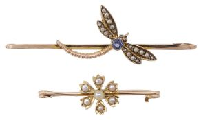 An attractive Edwardian sapphire and seed pearl dragonfly brooch