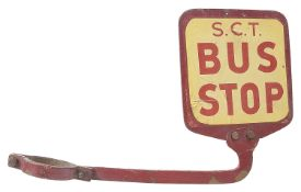 A S.C.T. Bus Stop lamp post sign
