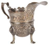 A Victorian silver cream jug, hallmarked London 1898