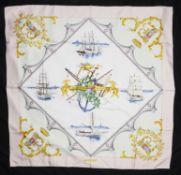 "Hermes """"Bordeaux Porte Oceane"""" nautical themed design silk scarf"
