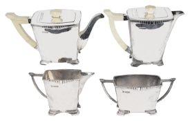 A George VI Art Deco four piece silver and ivory tea service, hallmarked Sheffield 1939