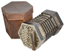 A cased 39 key Concertina by C. Jeffries