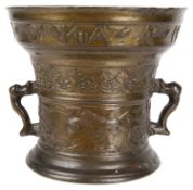 A Dutch two handled bronze mortar in the style of Gerrit Schimmel, Deventer, dated 1596