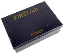 A vintage navy blue Boots 'First Aid' tin