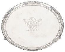 A Victorian silver salver, hallmarked Sheffield 1897