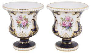 A pair of Royal Crown Derby cobalt blue ground vases, circa 1919
