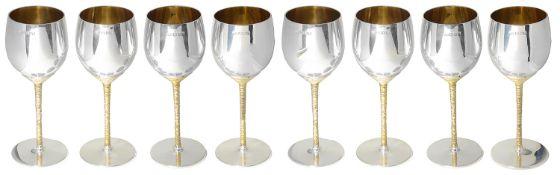 Stuart Leslie Devlin set of eight parcel-gilt silver wine goblets, hallmarked London 1972