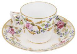 A Derby porcelain tea cup with saucer, circa 1870