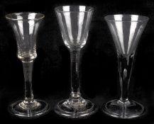 A plain stem wine glass, mid 18th century