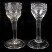 Two engraved plain stem wine glasses, mid 18th century