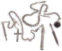 Two Victorian silver watch Albert chains with silver pencil fobs (3)