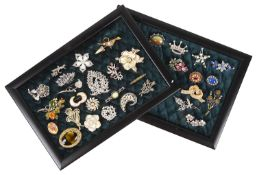 A large collection of vintage costume jewellery brooches