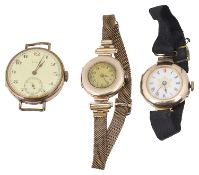 Two 9ct gold cased wristwatches and a gold plated wristwatch