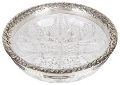 A Tiffany & Co silver cut glass sectional bowl, hallmarked with Import mark