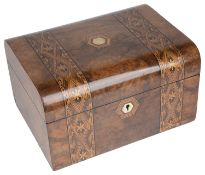 A Victorian walnut and marquetry inlay dressing table box