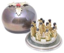 "Stuart Leslie Devlin ""Eleven Pipers Piping"" Twelve Days of Christmas Surprise parcel-gilt silver box"