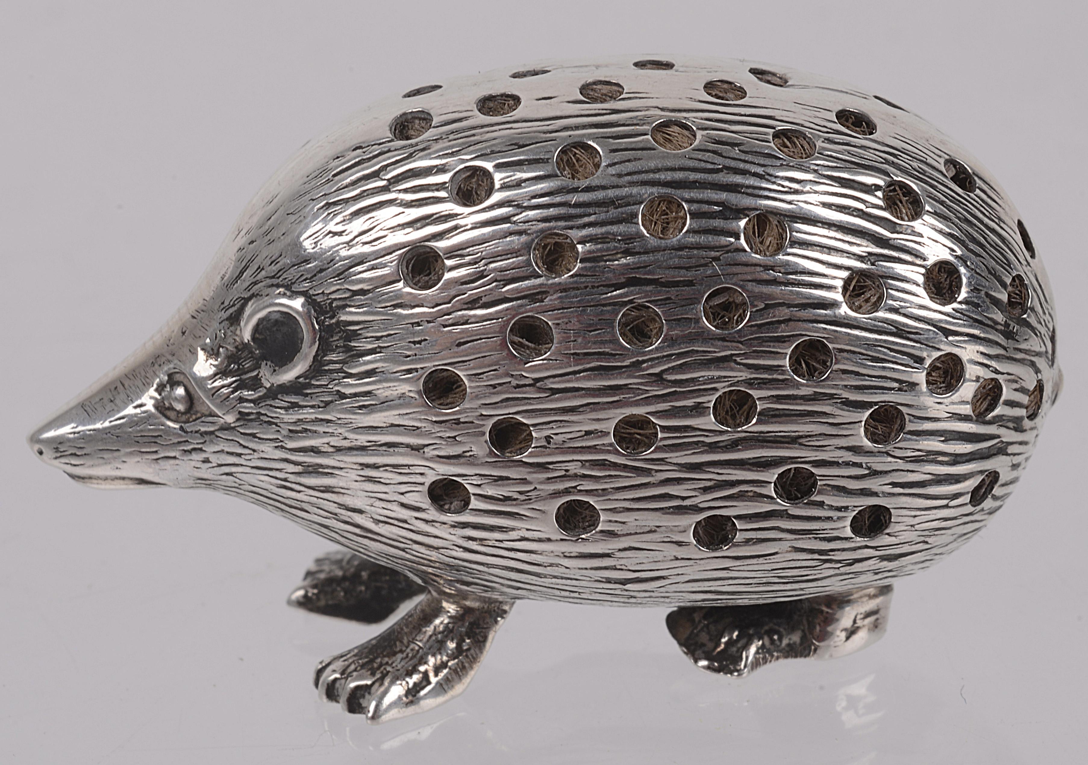 Lot 28 - An Edwardian silver novelty hedgehog pin cushion, hallmarked Birmingham 1904