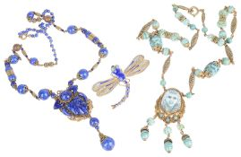 Two Art Deco Egyptian revival Czech glass bead pendant necklaces