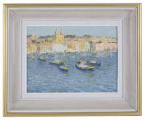 Alan Stenhouse Gourley (British, 1909 - 1991) 'Marsaxlokk Malta', oil on board