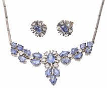 An attractive blue and white gem set necklace and earrings