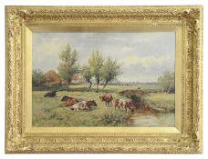 Charles Clayton 'Highland cattle near a stream' oil on canvas