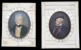 Two portrait miniatures on ivory, late 19th century