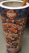 A late 19th century Japanese pottery Imari umbrella stand