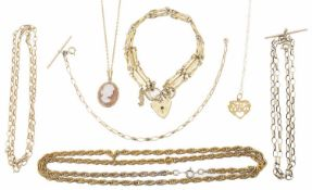 A selection of 9ct gold necklaces and bracelets