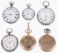 A selection of silver open faced pocket watches