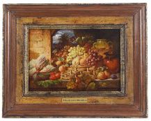 Attributed to George Lance (British, 1802 - 1864) 'Still life with fruit', oil on paper on board