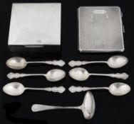 Edwardian and later silver flatware, cigarette box, cigarette case