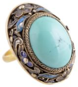 A large Chinese yellow metal cloisonné and turquoise set dress ring