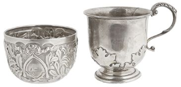 A George V silver Christening cup, hallmarked Birmingham 1924