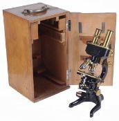 An Ernst Leitz Wetzlar binocular microscope, early 20th century