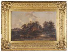 Continental School, 19th century 'A river scene', oil on canvas