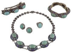 Early 20th century Chinese demi parure of silver gilt jewellery